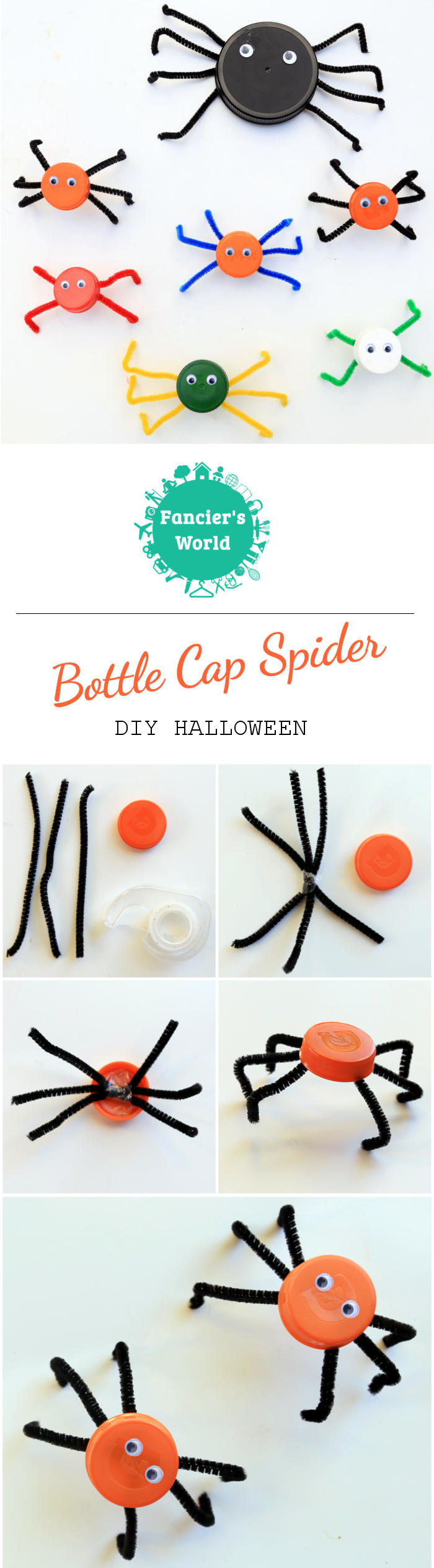 DIY Halloween - Steps for making Bottle Cap Spiders!
