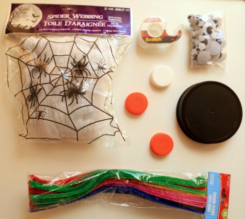 Supplies for DIY Bottle Cap Spiders for Halloween