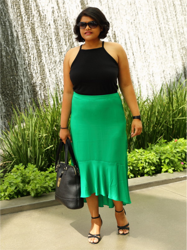 Ann Taylor Emerald Green Satin Midi Skirt with Halter Top