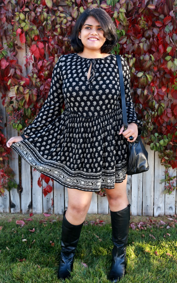 c0df081e34e The fun and flirty All Black Outfit with Boho Printed Dress from ZARA!
