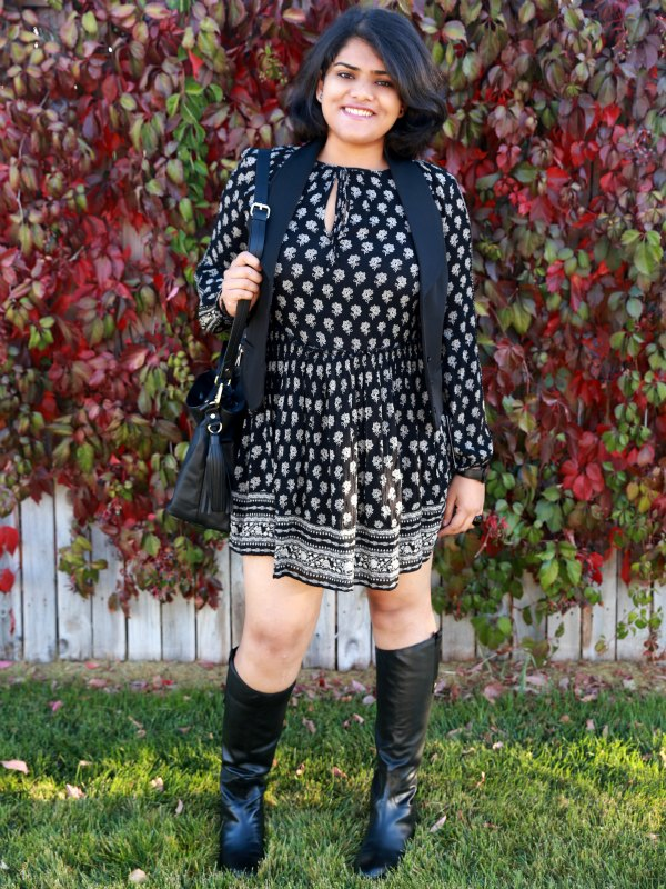 c1b3217afe0 All Black Outfit with Boho Printed Dress from ZARA and Waist Coat
