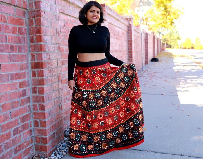 b8991edb4cfee Boho Maxi Skirt  Indian Ghagra  + Crop Top