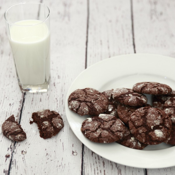 Chocolate Espresso Snowcap Cookies with a Tall Glass of Milk!