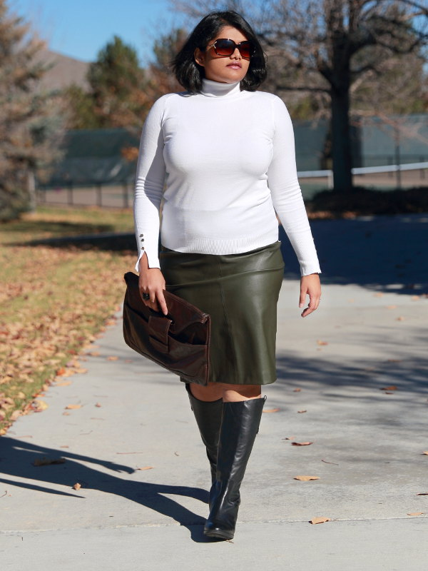 Playing with basics - Leather Skirt with Polo Neck Sweater ...