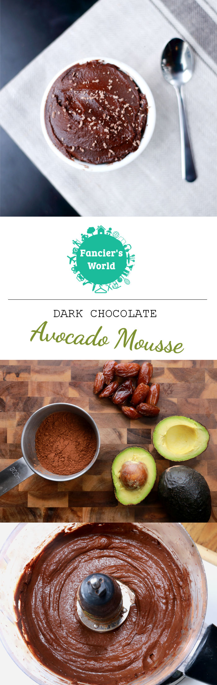 This vegan dark choocolate avocado mousse recipe is a 3-steps and 3 ...