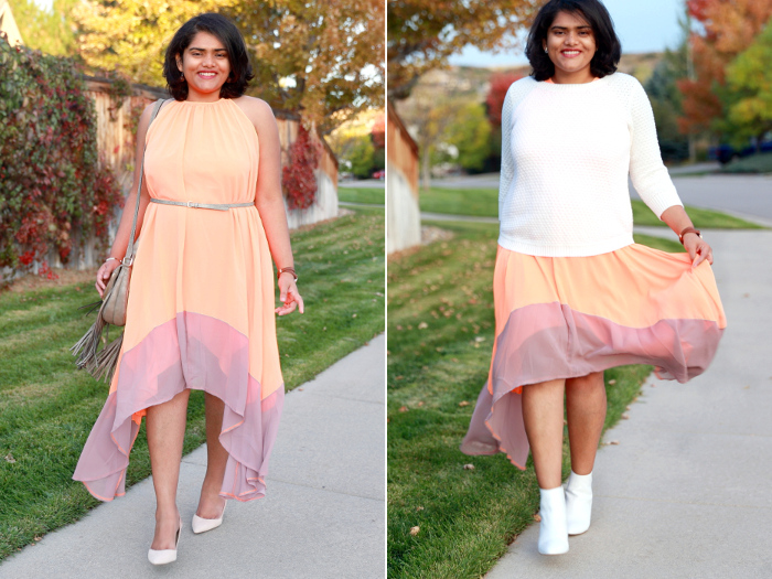Transitional layering for fall with colorblock asymmetrical dress from SheIn. Inspired by crisp sunburnt leaves swirling in the autumn breeze.