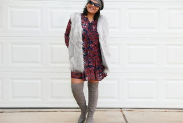 Style Tips: How to style a faux fur vest for any body type! Wear the vest with a printed dress to create a bohemian look. To create a street style look wear it with over the knee boots. To add a boho touch wear it with a fedora or beret. Wearing Zaful Faux Fur Waistcoat in Grey with enthnic printed dress in purple with ASOS OTK boots or thigh high boots.