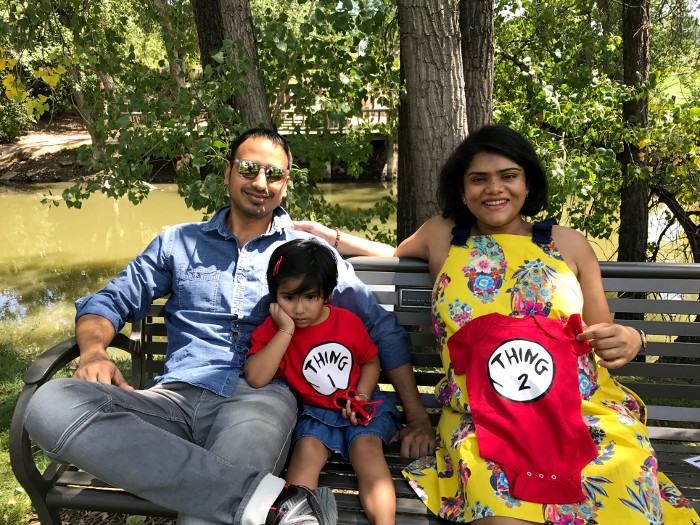A fun way for pregnancy announcement with Thing 1 and Thing 2 tees. Thing One and Thing Two are Cat in the Hat characters by Dr Seuss.